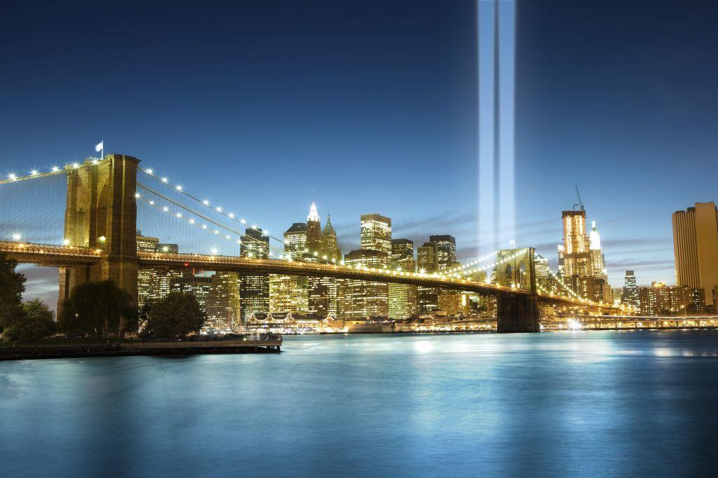 World Trade Center lights over Manhattan