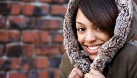 African American Beautiful Teenage Girl in Hooded Jacket, Copy Space
