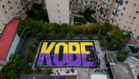 (EDITORS NOTE: Image was created with a drone.) A mural of...