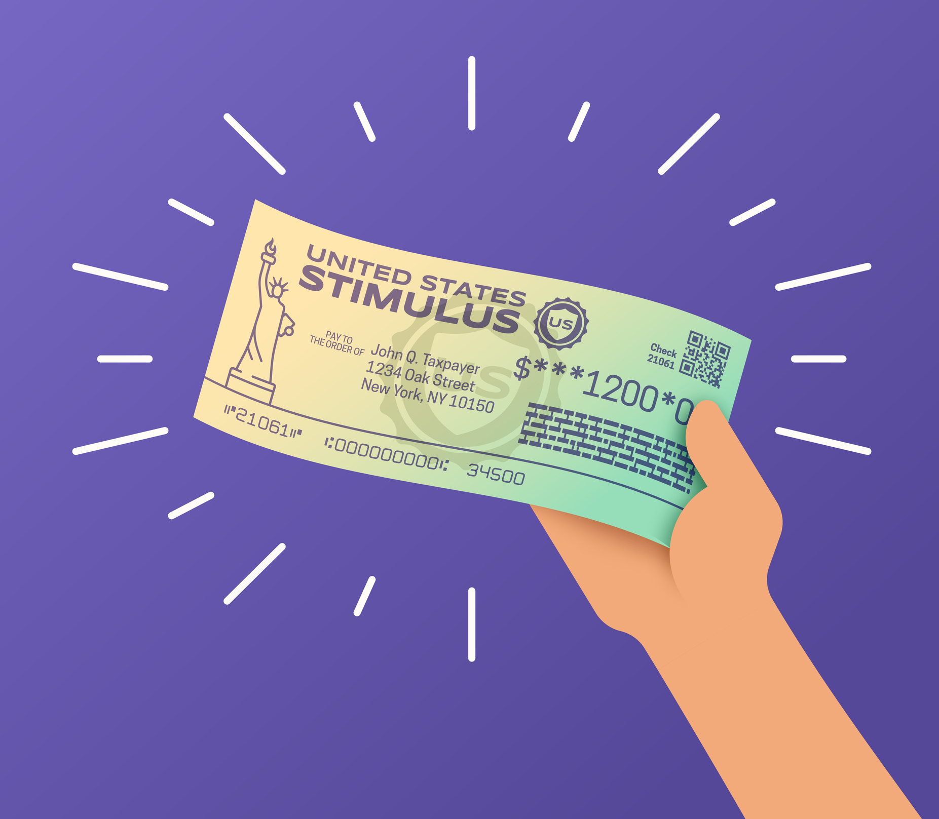 Person Holding a Government Stimulus Check
