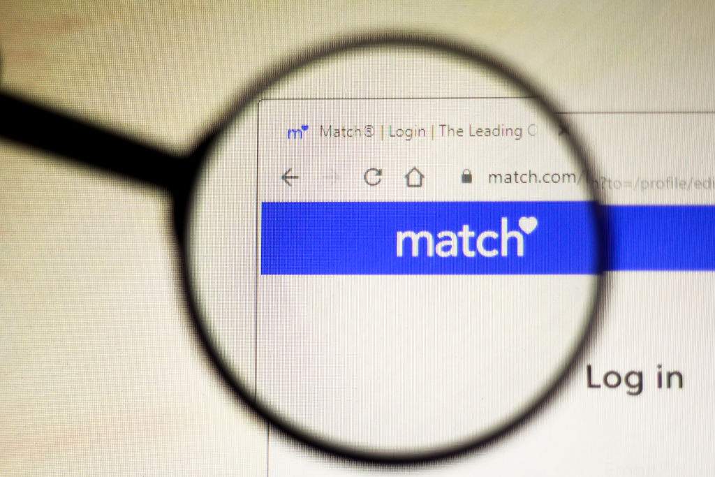 In this photo illustration the homepage of the match.com...