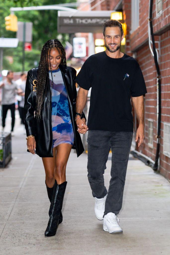Tayshia Adams with fiancé Zac Clark