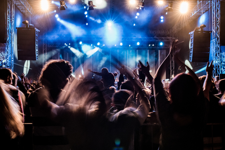Fans with raised arms enjoying concert, people on open-air music festival